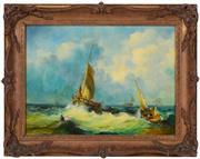 Sale 8401 - Lot 575 - Alma Burton Cull (1880 - 1931) - Maritime Scene 28.5 x 38.5cm
