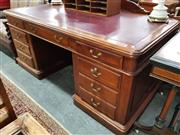 Sale 8700 - Lot 1088 - Timber Twin Pedestal Partners Desk with Inlaid Leather Top (H: 79 W: 182 D: 90cm)