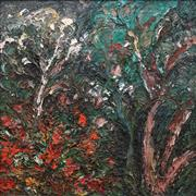 Sale 8764A - Lot 5010 - Nada Herman (1965 - ) - Ghost Gum and Poinsettias, 1994 58.5 x 58.5cm