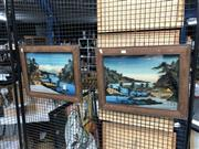 Sale 8819 - Lot 2103 - Pair of Japanese Paintings, on glass (3D) -