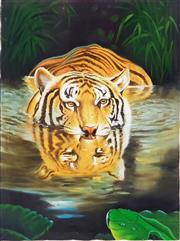 Sale 8978 - Lot 2070 - Artist Unknown Crouching Tiger acrylic on canvas, 120 x 100cm, unsigned