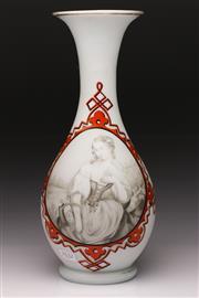 Sale 9078 - Lot 504 - Victorian Peasant Girl Milk Glass Vase H: 36cm