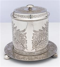 Sale 9245R - Lot 54 - An excellent quality English silverplate large biscuit barrel, Walker & Hall, C: 1900, the whole profusely decorated with numerous t...