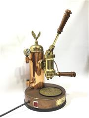 Sale 8579 - Lot 7 - A vintage brass and copper Eagle Elektra coffee esspresso machine with test tag valid until 2019. General wear commensurate with age...