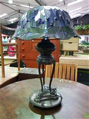 Sale 8562 - Lot 1049 - Impressive Leadlight Table Lamp