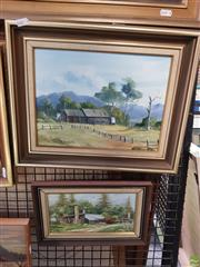 Sale 8595 - Lot 2070 - (2 works) Noelle Hoffman - Sheds, Lake Cathie, oil on board, signed lower left; Murray Jones - Norfolk Island Cottage Pottery, o...