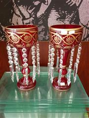 Sale 8601 - Lot 1193 - Pair of Red Ruby Lustres