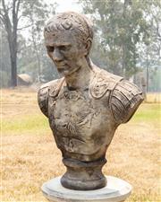 Sale 8871H - Lot 133 - Cast stone garden bust statue of Julius Caesar. Height 67cm