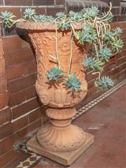 Sale 9070H - Lot 1 - A pair of terracotta coloured compsite garden urn of classical design planted with succulents , Height 77cm x Diameter 55cm