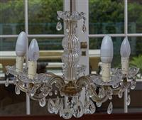 Sale 9080H - Lot 24 - Two Italian Chandeliers including a three branch and five branch, total drop approx. 70cm