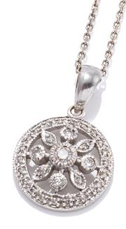 Sale 9095 - Lot 357 - A WHITE GOLD DIAMOND PENDANT NECKLACE; 9ct target pendant with floral cluster detail set with 31 round brilliant cut diamonds, size...