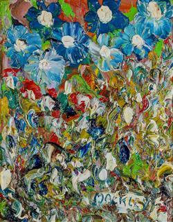 Sale 9093A - Lot 5035 - Evan Mackley (1940 - 2019) - All Blues Up Top 24.5 x 19.5 cm (frame: 43 x 38 x 3 cm)