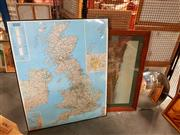 Sale 8678 - Lot 2053 - Large Map of Great Britain, Framed Print & a Mirror
