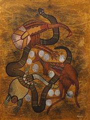 Sale 8711 - Lot 2081 - Leanne Reid Wanjidari (1966 - ) - Emu, Snake, Turtle, Kangaroo 77 x 57cm