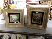 Sale 8819 - Lot 2322 - Pair of Decorative Paintings: Still Life & Highland Scene with Cottage and Mountain Scene