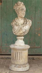 Sale 8871H - Lot 134 - Cast stone garden bust of a young Marie Antoinette. Height 77cm