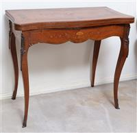 Sale 8963H - Lot 41 - A late C19th French rosewood and marquetry card table with serpentine shaped top and brass mounts, Height 76cm x Width 87cm x Depth ...