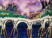 Sale 9021 - Lot 558 - Bernard Ollis (1951 - ) - Storm Clouds Over Paris 73.5 x 100 cm (frame: 81 x 107 x 6 cm)