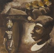Sale 9087 - Lot 2054 - Artist Unknown (Lae) Papua New Guenian Ceremonial Figures oil on board 81 x 81cm, inscribed verso -