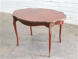 Sale 9142 - Lot 1036 - Louis XV Style Marquetry Occasional Table, the serpentine shaped with quarter veneer & brass mounts, raised on cabriole legs (h:51 x...