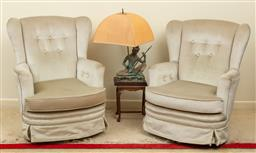 Sale 9164H - Lot 27 - A pair of silver velvet button back swivel chairs on four feet, Height of back 96cm x Width 75cm