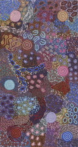 Sale 9171A - Lot 5029 - MICHELLE POSSUM NUNGURRAYI (1969 - ) Grandmothers Country acrylic on canvas 168 x 89 cm (stretched and ready to hang) certificate o...