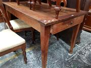 Sale 8728 - Lot 1026 - Antique Rustic French Cherrywood Kitchen Table, with two drawers & tapering legs