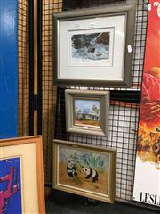 Sale 8726 - Lot 2094 - 3 Artworks: Coastal Rocks, Pandas, Cottage