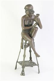 Sale 8749 - Lot 72 - Bronze Art Deco Style Seated Lady