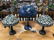 Sale 8787 - Lot 1040 - Collection of 3 Leadlight Shade Table Lamps