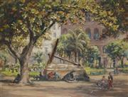 Sale 8881 - Lot 581 - Henry Edgecombe (1881 - 1954) - Macquarie Place, c1920 43 x 56 cm