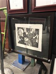 Sale 8861 - Lot 2004 - Gwyneth Tilley (1922 - 1988) The Dancewoodcut, ed. 1/10, 54 x 58cm (frame), signed -