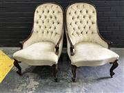 Sale 9031 - Lot 1065 - Pair of Victorian Mahogany Slipper Chairs, upholstered in cream buttoned velvet & raised on cabriole legs (h:89 x w:56cm)