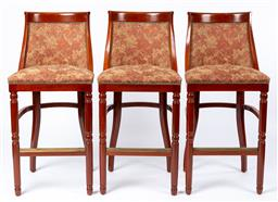 Sale 9130S - Lot 27 - A set of three R.D Kirkman & Co. floral leaf upholstered bar stools with studded frames, Height of back 114cm
