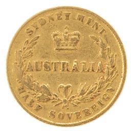 Sale 9130E - Lot 89 - A Victorian 22 carat gold Sydney mint half sovereign dated 1864, weight 3.87g