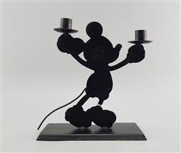 Sale 9134 - Lot 1019 - Post modern matte black cast metal Mickey Mouse candle holder (h:24cm)