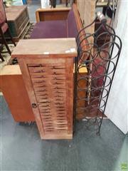 Sale 8593 - Lot 1046 - Timber CD Rack and Metal Wine Rack