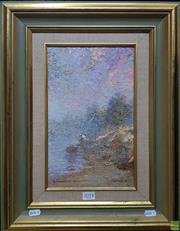 Sale 8600 - Lot 2014 - Dale Marsh (1940 - ) Fisherman and the Morning, 1983 oil on board, 32.5 x 19.5cm, signed and dated lower right