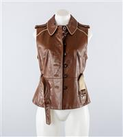 Sale 8760F - Lot 72 - A Scanlan & Theodore sleeveless vest in brown leather with an off-white leather piping, size 12