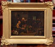 Sale 8804A - Lot 20 - Artist Unknown, Possibly C17th - Domestic Interior Scene image size 12cm x 16cm in gilt timber frame