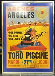 Sale 8945 - Lot 2073 - Arenes Argeles - Toro Piscine Poster, 104 x 75 cm (frame) -