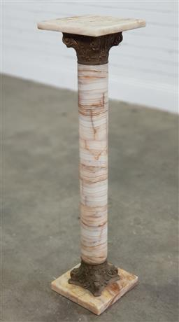 Sale 9196 - Lot 1067 - Cream Onyx Pedestal, with brass mounts forming a Corinthian column (h96 x d23cm)