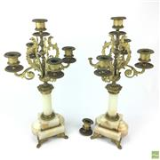 Sale 8649 - Lot 91 - Pair of French Gilt Brass & Onyx Candlesticks