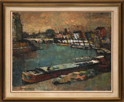 Sale 8665A - Lot 5038 - H. Leonard Greening (1904 - 1984) - Barges on the Seine, Paris, 1970 50 x 59cm