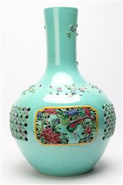 Sale 8732W - Lot 70 - Large Blue Yuhuchun Ping Vase Decorated With Trees And Flowers H: 55cm
