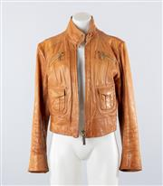 Sale 8760F - Lot 2 - An Armani Jeans leather jacket with twin zippers and pockets to panelled front, size EU 42