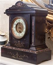 Sale 8778 - Lot 86 - A Belgian slate mantle clock of architectural form, with key, height 32cm