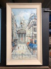 Sale 8807 - Lot 2084 - Artist unknown, Paris Street scene, 1967, 91 x 53cm, acrylic on canvas, signed lower left