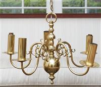 Sale 9080H - Lot 50 - A five branch brass chandelier in the Dutch style, Width 57cm