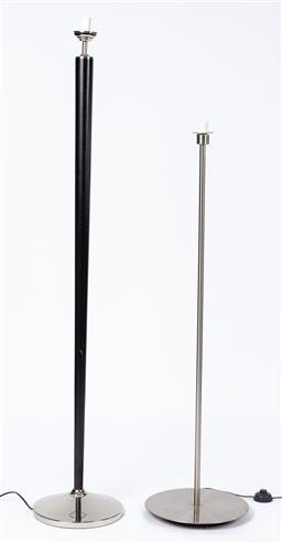 Sale 9130S - Lot 77 - A black timber & silver standard lamp base together with a metal example, Tallest 164cm